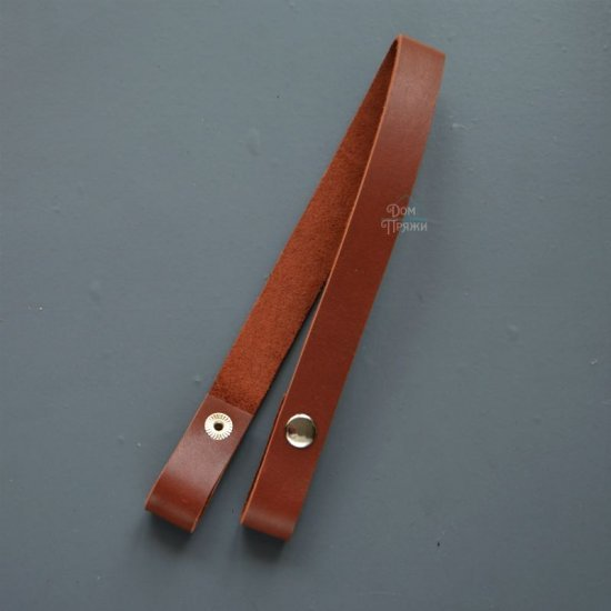 Ручка кожа для сумки и корзины на кнопках (Коричневый) 45х2см