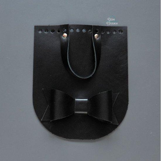 Клапан с бантом кожа (Черный) 15х18см
