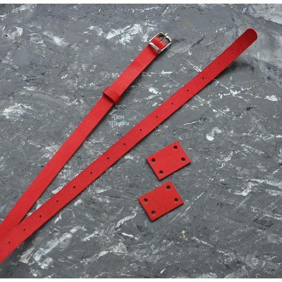 Ремень кожа для поясной сумки (Красный) 3см
