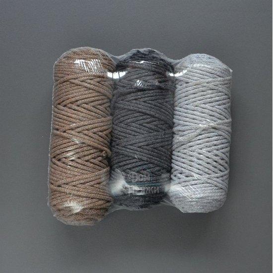 Комплект шнур х/б 3мм (Серебро-Беленый дуб-Темно-серый) 150м