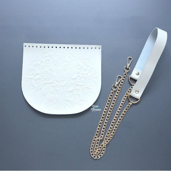 Набор для сумки кожа Цветы (Слоновая кость) (клапан, комби-ручка)