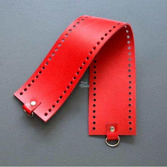 Боковина для сумки кожа (Красный) 42х8см Houseyarn