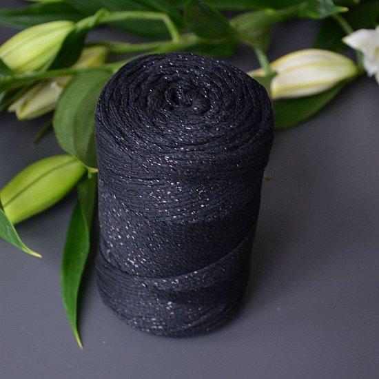 Шнур х/б 3мм Yarnart Macrame cotton с люрексом (Черный) 205м