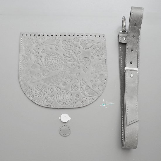 Набор для сумки эко-кожа Lux Птички (Серый) 20х18см/125см