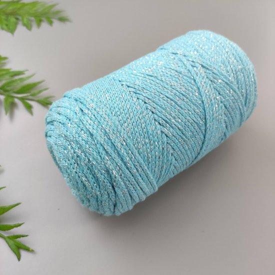 Шнур х/б 3мм Yarnart Macrame cotton с люрексом (Бирюзовый) 205м Yarnart