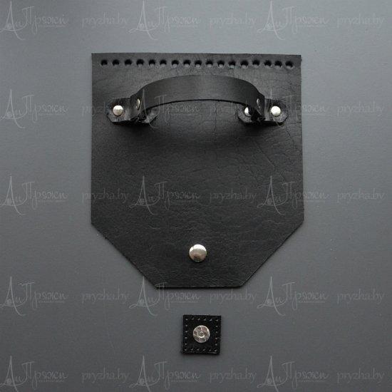Клапан для сумки кожа (Черный) 18х20см