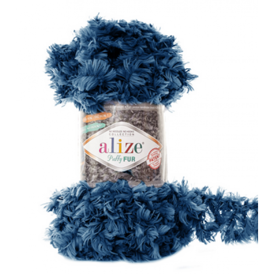 Пряжа Alize Puffy Fur 6114 Темно-синий