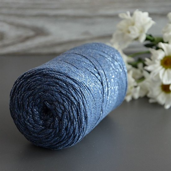 Шнур х/б 3мм YarnArt Macrame cotton с люрексом (Джинсовый) 205м