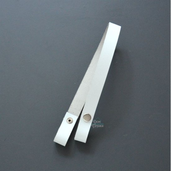 Ручка кожа для сумки и корзины на кнопках (Белая) 60х2см