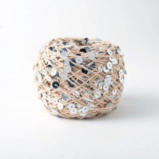 Пайетки (Бежевый + Серебро) 145м Houseyarn