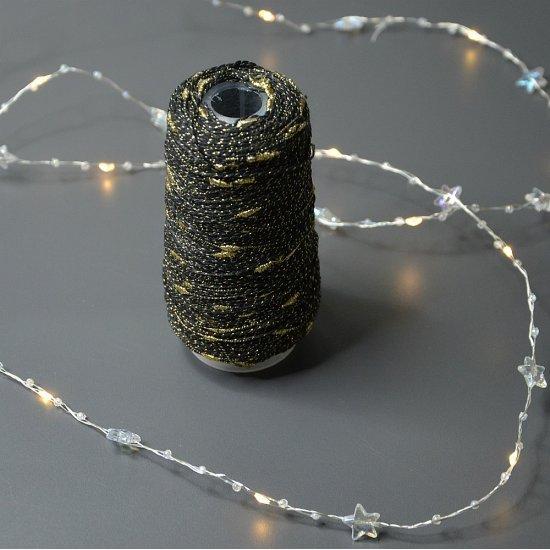 Люрекс узелковый (Черный с золотыми каплями) 700м Houseyarn