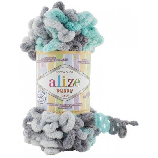 Пряжа Alize Puffy мультиколор (серый-зеленый) 6076