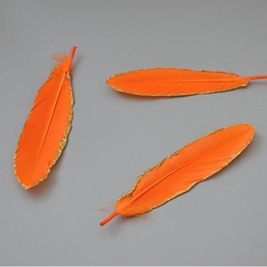 Перо Гуся (Оранжевый с золотом) 15-20см, 1шт Houseyarn