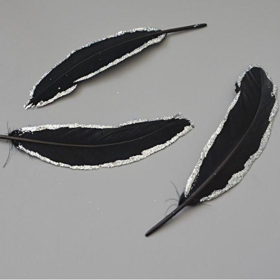 Перо Гуся  (Черный-с серебром) 15-20см, 1шт