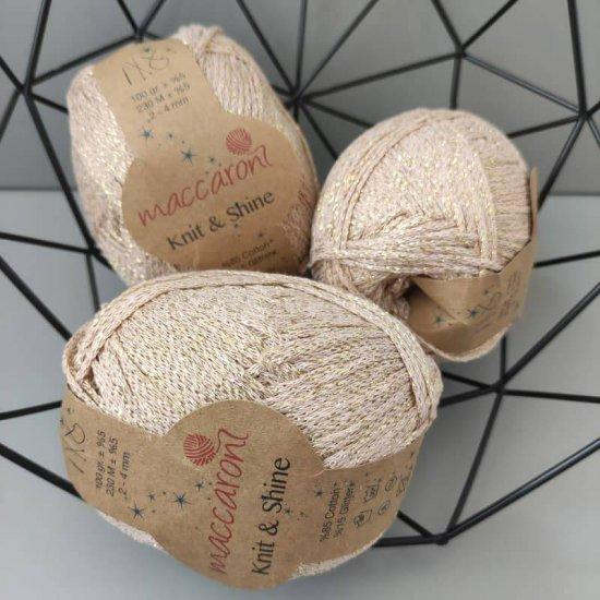 Maccaroni Knit&Shine 2-4мм (Бежевый с золотом) 230м Maccaroni