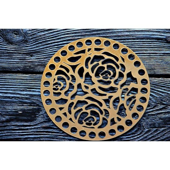 Боковушка для сумки из акрила золото (Розы) 15см